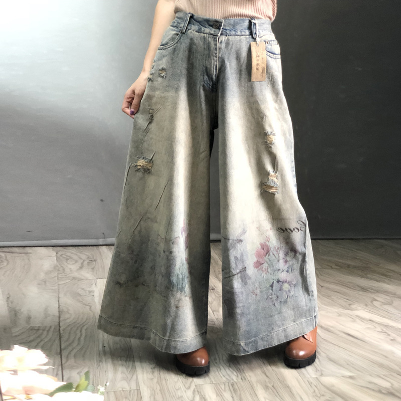 Free Shipping 2019 New Fashion Wide Leg Long Pants For Women Trousers Denim Jeans With Holes Elastic Waist Casual Pants Print