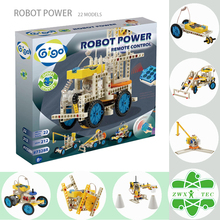 Gigo #7328R Science Toys 212PCS 22 models environmental material Green Energy Building block toys RC Robot Power Crane/Bulldozer