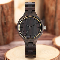 Top Luxury Full Natural Ebony Wood Women Watch Hand made Timber Slim Wristband Quartz Clock 2019 Christmas Gifts Reloj de madera