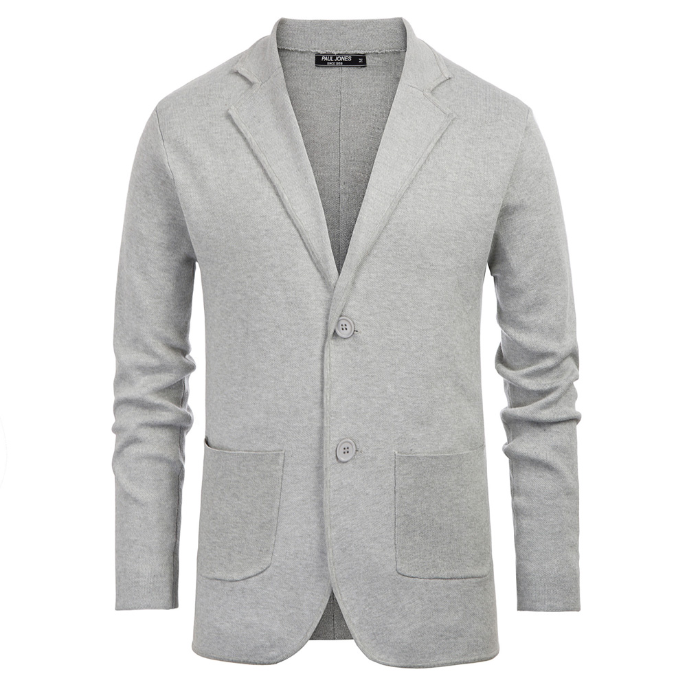 Office Business Men Coat Spring Fall Sweater Warm Solid Casual Two-Button Notch Lapel Knitted Coat Cardigan With Pockets Top Men