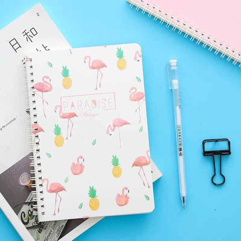 4 Colors Creative Stationery Flamingo Notepad A5 Notebook Small Fresh Coils Ledger Student Supplies 120 Pages