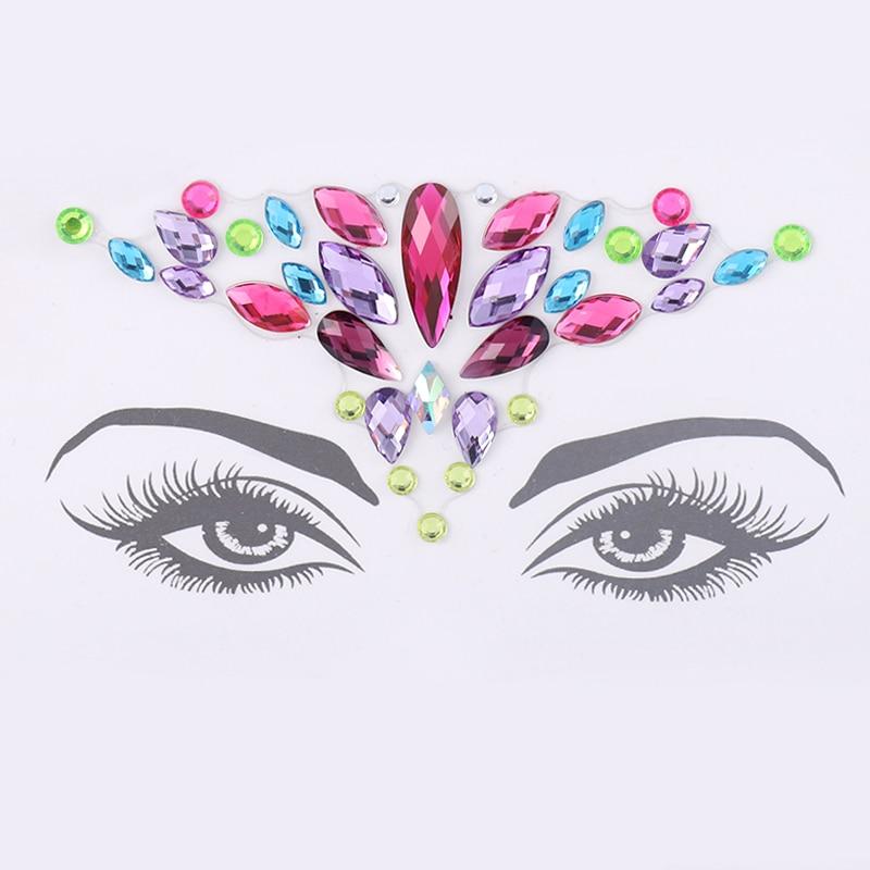 Temporary Tattoo Face Jewelry Rhinestone Eyebrow Heart Sticker Decoration Party Makeup Body Shiny Festival Flash Art Sticker