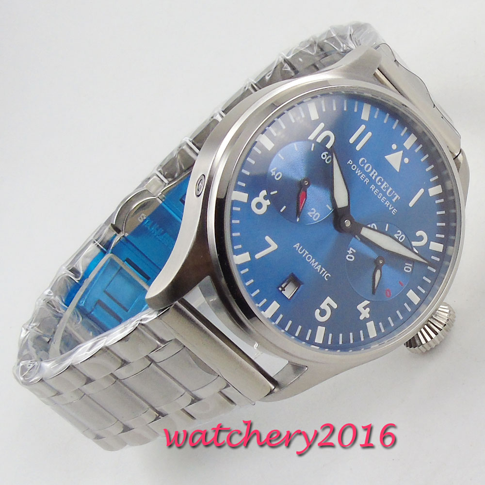 NEW 42mm Corgeut Power Reserve Luminous blue dial full Stainless steel mechanical Automatic men WatchNEW 42mm Corgeut Power Reserve Luminous blue dial full Stainless steel mechanical Automatic men Watch