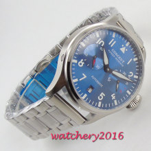 NEW 42mm Corgeut Power Reserve Luminous blue dial full Stainless steel mechanical Automatic men Watch
