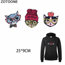 ZOTOONE Sweet Kitty Patch for T-shirt Iron on Transfer Clothing DIY Cats Stickers Heat Appliques Decoration Sweatshirt