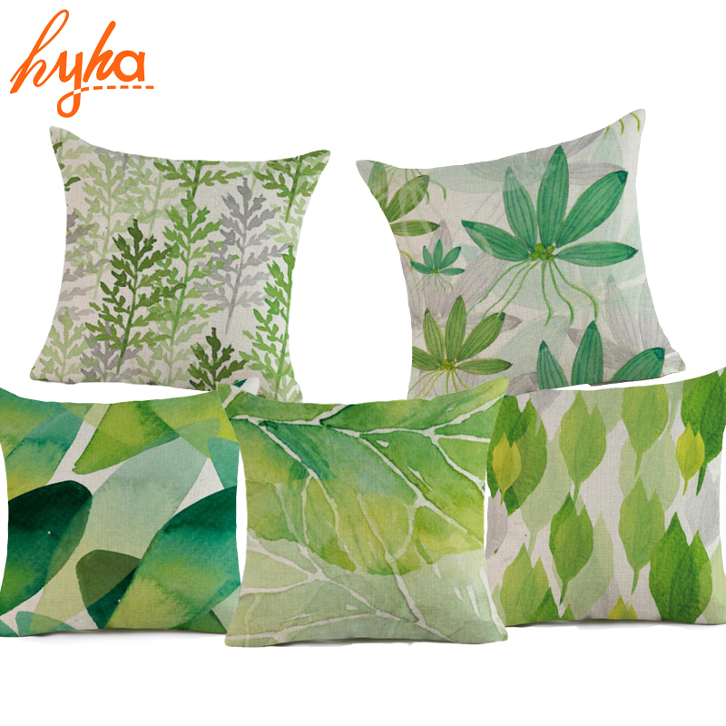 Hyha Watercolour Plant Cushion Cover Cotton Linen Succulent Green Leave Home Decorative Geometric Pillow Cover for Sofa Bedroom