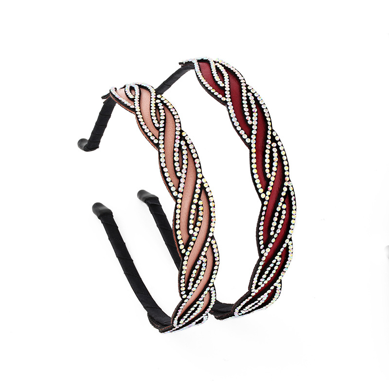 New Arrival Weaving Full Rhinestones Stars Hair Bands Artificial Leather Headbands for Women Girls Hair Accessories