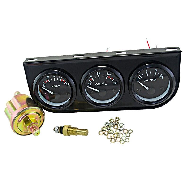 VR-52 мм Электрический тройной комплект (Вольтметр + датчик температуры масла + Датчик давления масла) датчик температуры Автомобильный Автом...