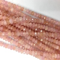 High Quality Natural Genuine Pink Morganite Hand Cut Loose Gemstone Faceted Rondelle Necklace Bracelet Jewelry Beads 15 05935