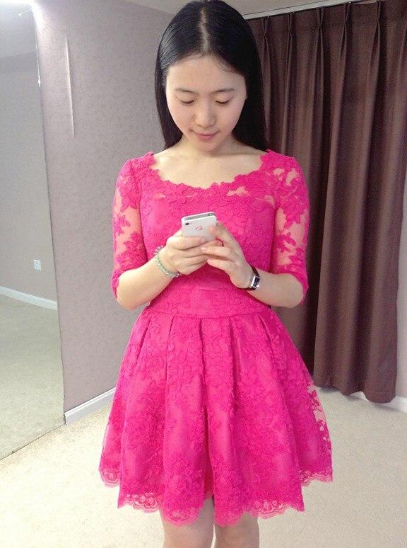 Moitié manches a-ligne court robes de bal 2015 nouvelle conception chaude sexy genou-longueur robe de soirée robe de festa rose rouge dentelle