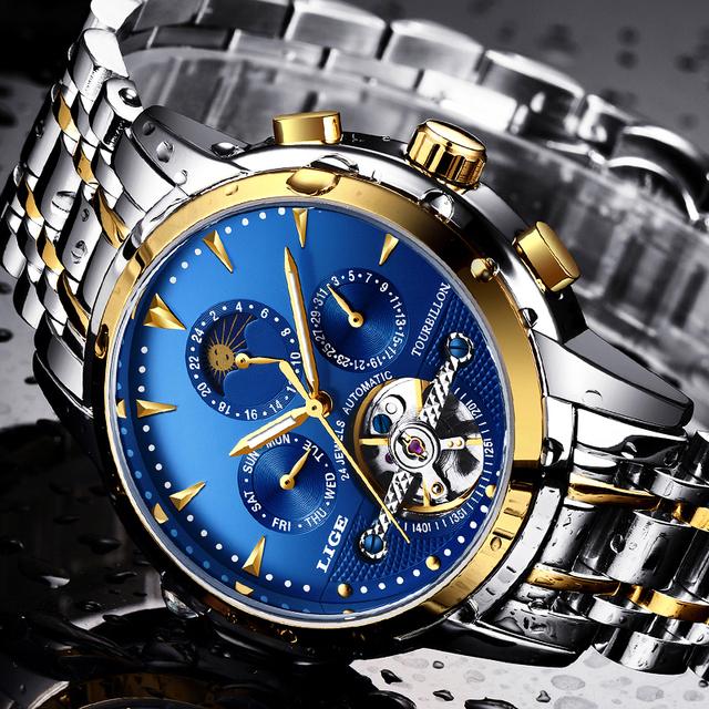 LIGE Top Brand Luxury Automatic Mechanical Watch Men Full Steel Business Waterproof