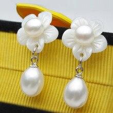 цены на new for women sterling-silver-jewelry real natural Freshwater pearl shell FLOWER Drop Pearl Earrings Quality Wedding Gift  в интернет-магазинах