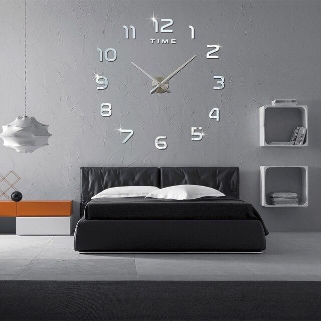 2017 Neue Ankunft 3D Wohnkultur Quarz DIY Wanduhr Uhren Horloge Uhr  Wohnzimmer Metall Acryl Spiegel Wohnkultur