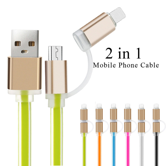 2in1 For iPhone 5 5S 6 6s usb cable ios Data Micro USB Cable For Samsung Galaxy S7 S5 s6 edge Cell Phone charger