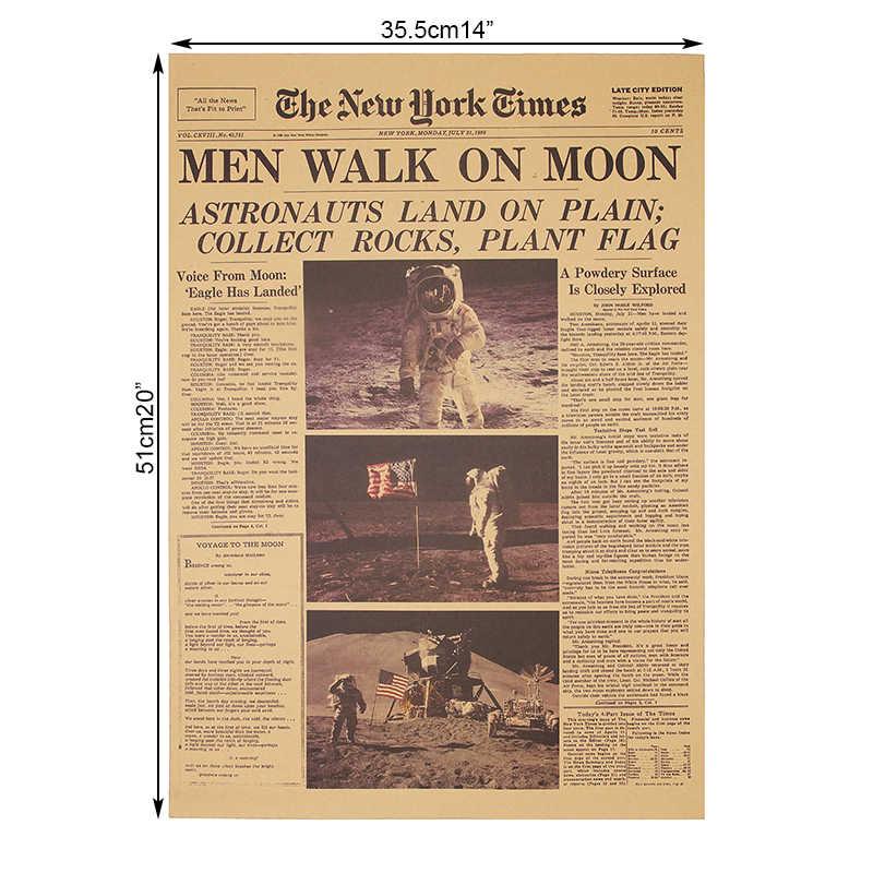 Dlkklb el Apolo 11 Luna aterrizaje New York Times Vintage póster papel Kraft Retro niños habitación decoración pared pegatina 51x35,5 cm.