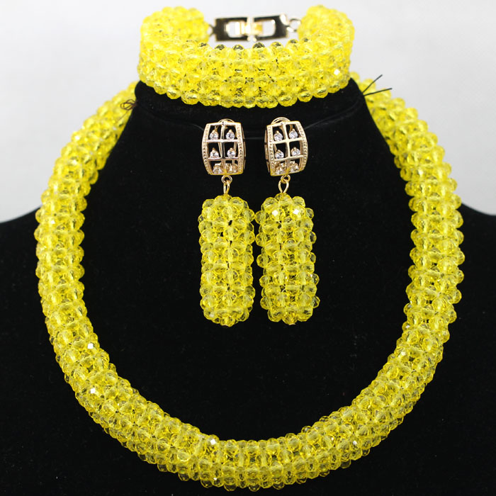 Gorgeous Yellow African Costume Beads Jewelry Set Women Party Crystal Anniversary Jewelry Set Wholesale Price Free Shpping QW463 gorgeous faux crystal beads anklet for women
