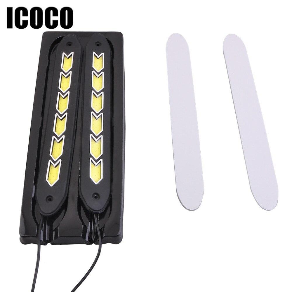 ICOCO супер яркий автомобиль светодиодные силиконовые ПОЧАТКА дневного света Водонепроницаемый автомобиля Сид удара Светильник прокладки света