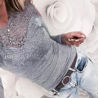 Blusas Femininas Solid Lace Fashion Women New Spring Autumn Sexy Slim Ladies Tops Long Sleeve Splicing