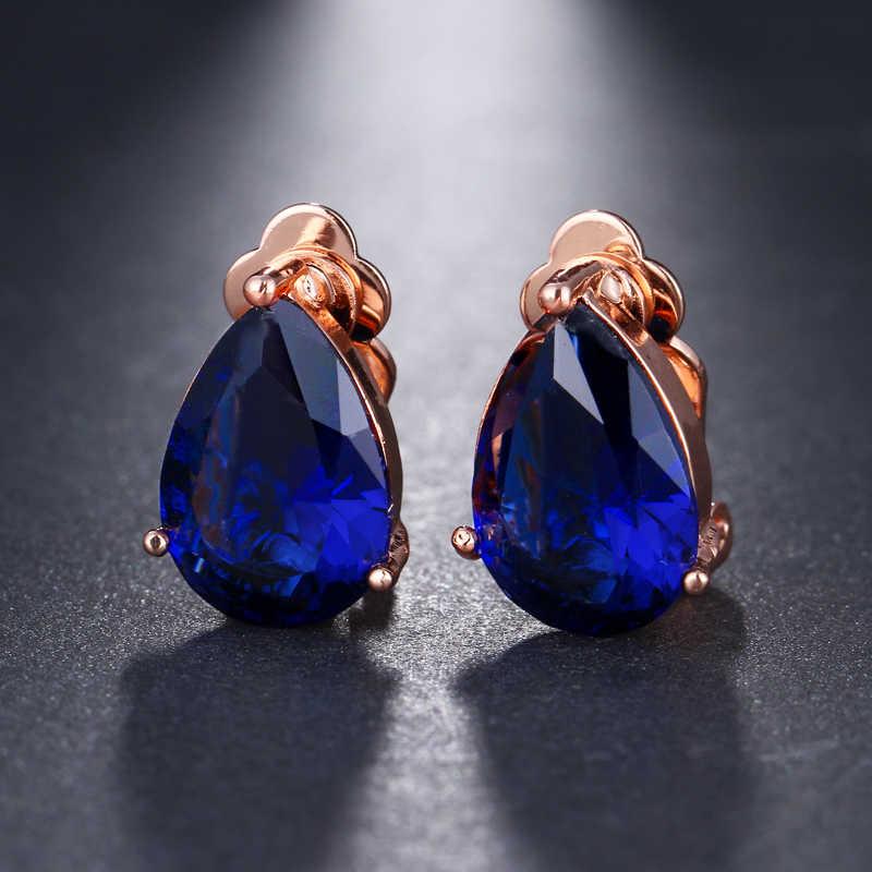 Boucles d'oreilles Clip zircon cubique goutte d'eau avec élégantes boucles d'oreilles en pierre bleue pour cadeau de fête Punk fille Pendientes Mujer Moda