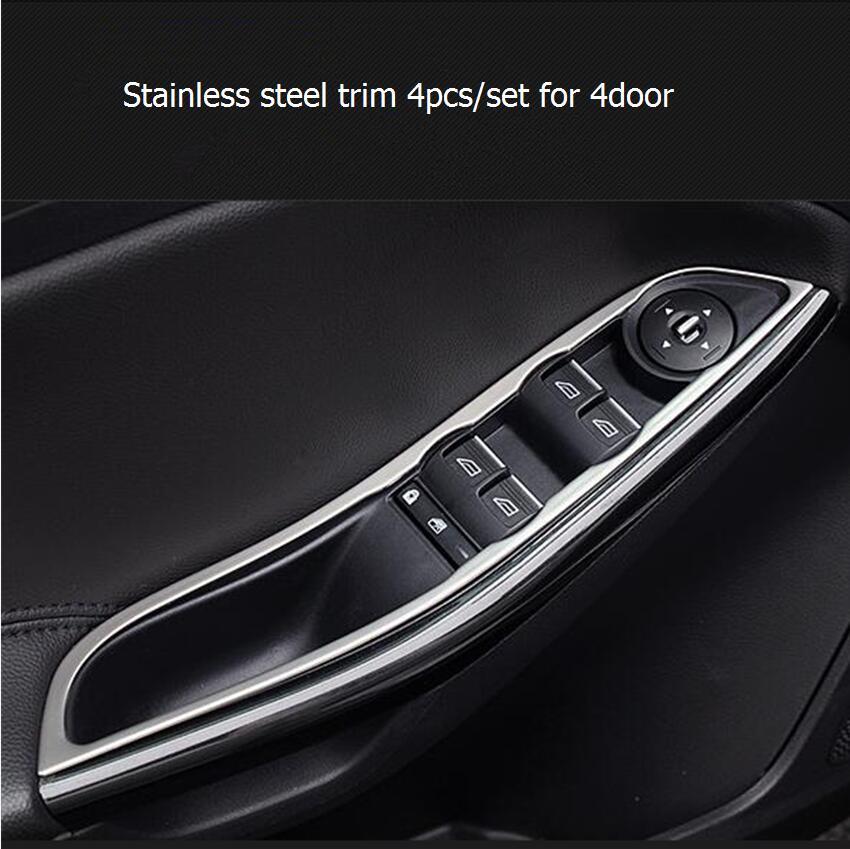 4pcsset Car Styling Interior Door Armrest Handle Frame Chrome Trim