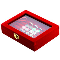 MMS Velvet Jewelry Ring Earrings Cufflinks Display Box Storage Case Holder Organizer T Bar Black and Red