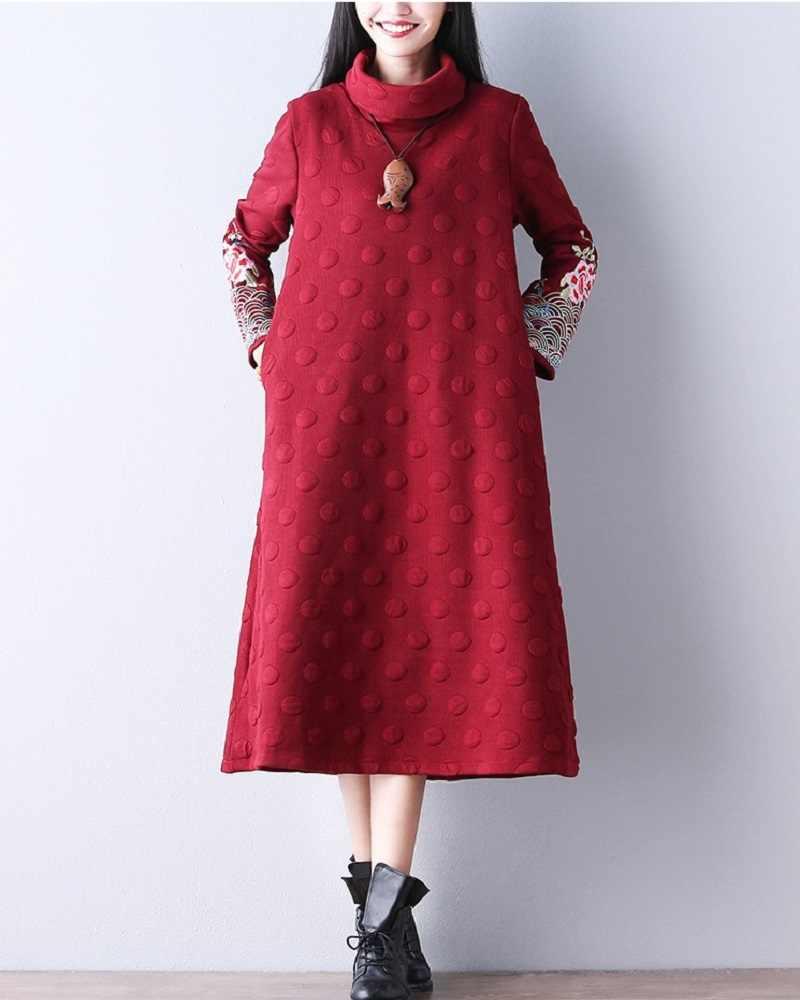 2018 Этническая Для женщин макси длинное платье водолазка Черные и темно-красные туфли красный Винтаж платье с длинным рукавом Вышивка осень-зима платье