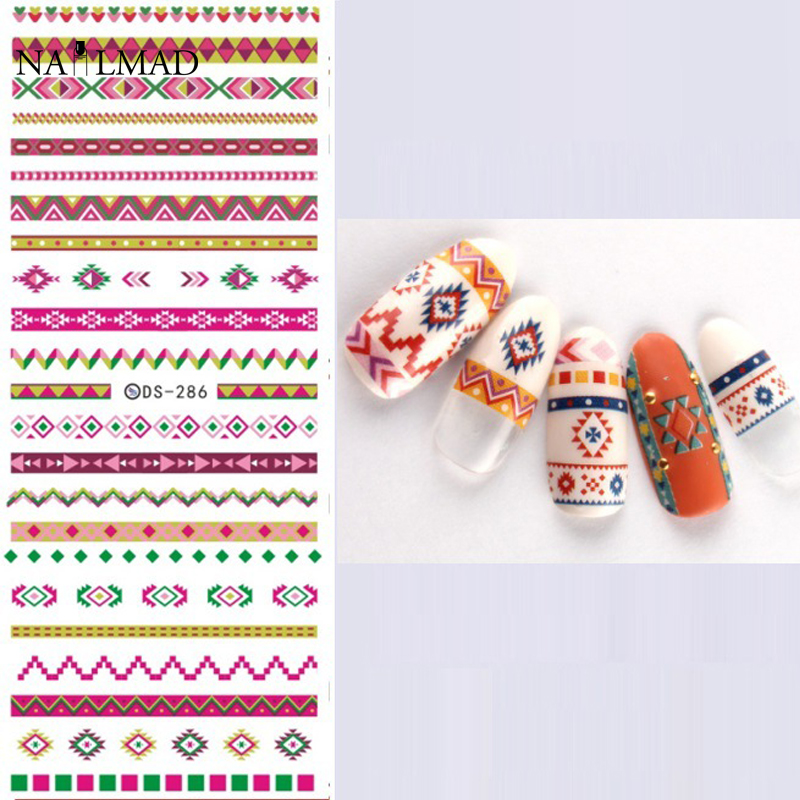 1 Hoja Tribal Azteca Colorful Nail Art Calcomanías de Agua Nail ...