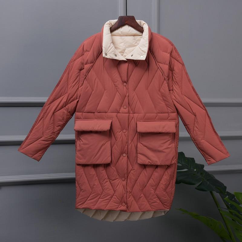2019 Women Solid Ultra Light   Down   Jackets Autumn Winter Thin White Duck   Down   Jacket Parka Ladies Midi Long Outerwear   Coat   AB1546