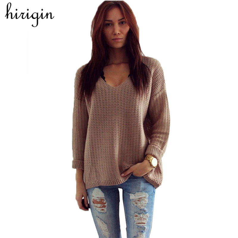 Womens V Neck Loose Casual Knit Sweater Pullover Long Sleeve Spring Autumn Sweater Tops sueter mujer