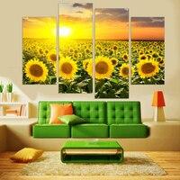 לא ממוסגר מודרני חמניות ציור ציור פרח קיר אמנות בד מודפס מודולרי HD עבור סלון בד הדפסי אמנות 4 פנל