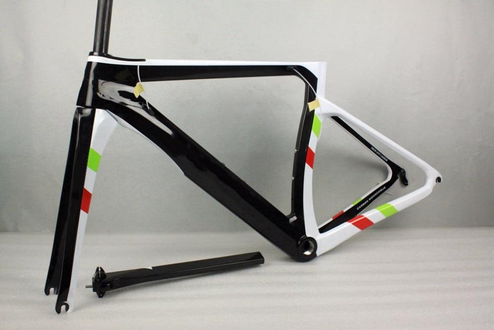 цена Carbon frame road 2017 Italian Flage logo carbon road frame T1000 full carbon fiber bicycle frame+seatpost+headset+fork+clamp онлайн в 2017 году