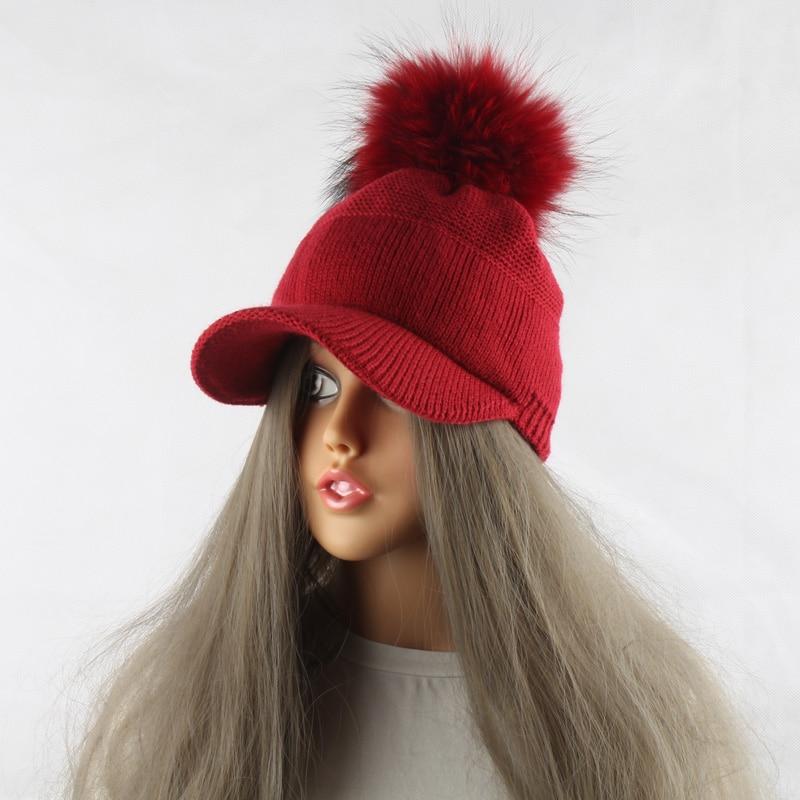 FURANDOWN 17 New Real Fur Pom pom Cap For Women Spring Autumn Baseball Cap With Raccoon Fur pompoms Brand Snapback Caps 12