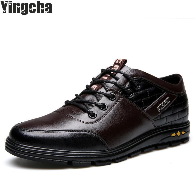 Leather Shoes Men Casual Shoes 2018 Autumn Waterproof Slip On Men Shoes Flats Anti-skid Casual Leather