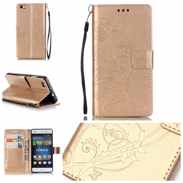 3D Embossing Flower Flip PU Leather Case For Huawei P8 lite with Card Holder Stand Wallet Case Cover for Huawei ALE-L21 Case