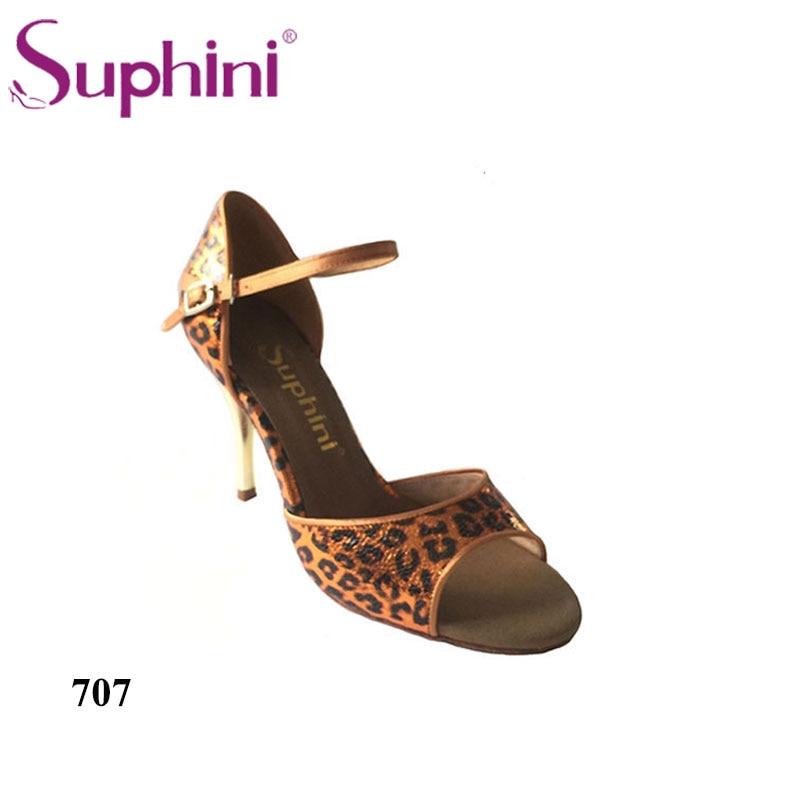 Free Shipping Suphini High Heel Tango Dance Shoes Woman Party Orange Leopard Dance Shoes