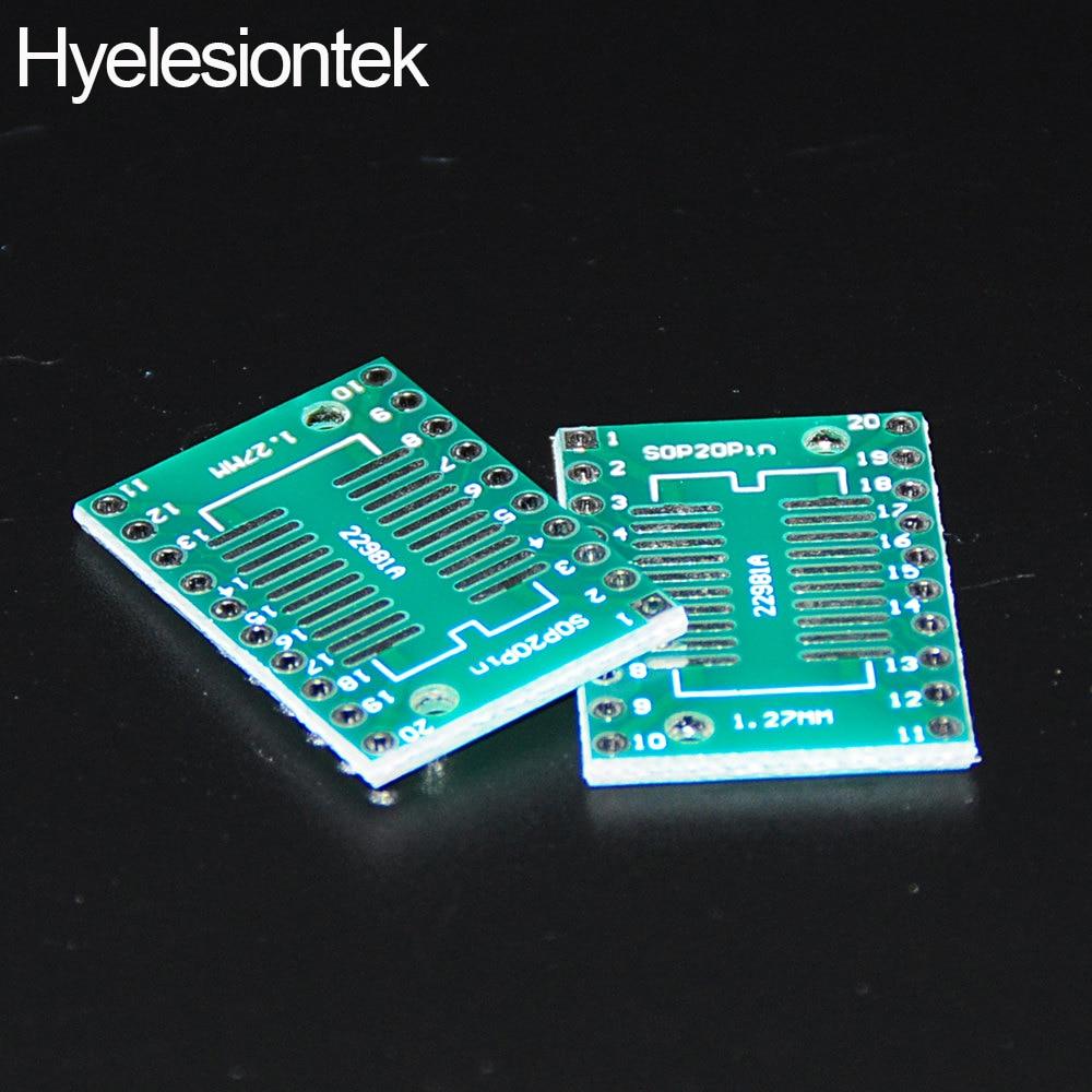 20pcs SOP20 SSOP20 TSSOP20 SMD to DIP IC Adapter Converter Socket Board Module Adapters Plate 0.65mm 1.27mm Integrated Circuits