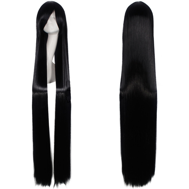 150CM Black Long Straight Wigs 59'' Women Heat Resistant Synthetic Hair Anime Cosplay Wig Party Costume Accessories Wig + Cap