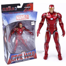 Marvel Avengers Iron Man Black Panther Hawkeye Captain America Vision Black Widow PVC Action Figure Collectible Model Toy Boxed(China)