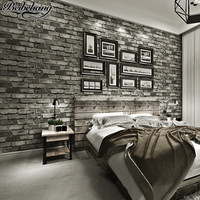 Beibehang Retro Chinese Style 3D Stereo Brick Nonwoven Wallpaper Red Brick Gray Brick House Background Wallpaper