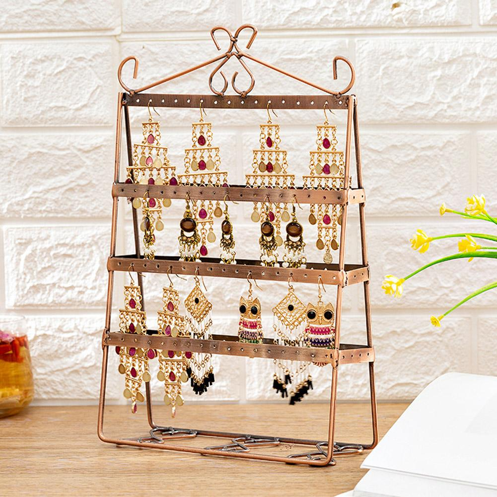 BLUELANS 4-Tier Durable Jewelry Stand Rack Metal Earrings Display Holder Props Shelf Fashion Jewelry Organizer