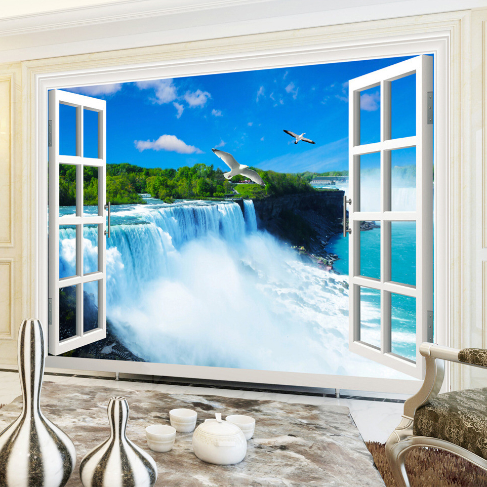high quality 3d waterfall wall murals buy cheap 3d waterfall wall custom photo wall paper 3d stereoscopic window waterfall living room bedroom background wallpaper for walls mural