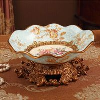 Fashion Fruit Plate Decoration Royal Rustic Home Accessories Ceramic Resin Dry Fruit Tray Wedding Gift