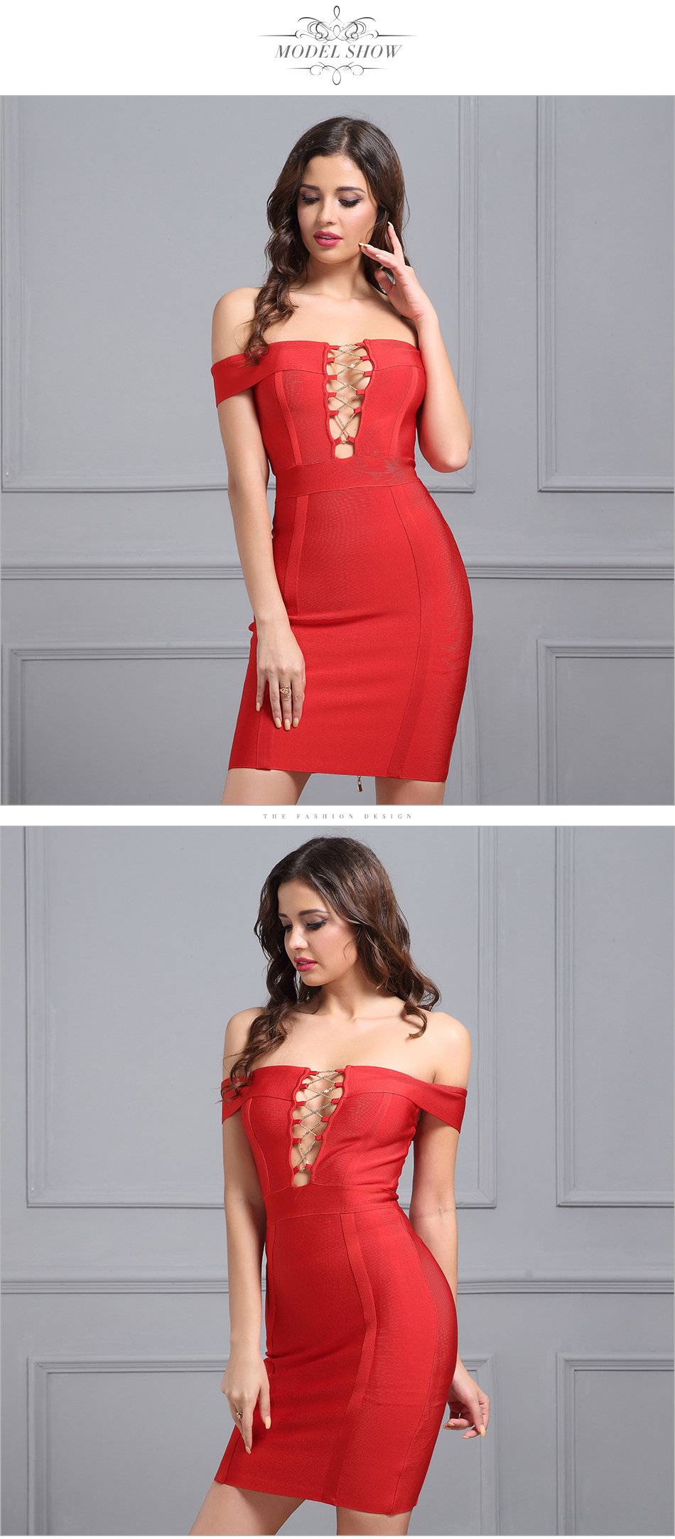 Vestidos 2017 summer dress women runway Bandage dress Slash-neck Cut out Cross Chain short sleeve Celebrity Red Bodycon Dress 5