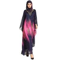 Vrouwen Zomer Moslim Mode Strass Kralen O-hals Chiffon Roze en Geel Print Lange Mouwen Losse Lange Jurk met Sjaal Ro