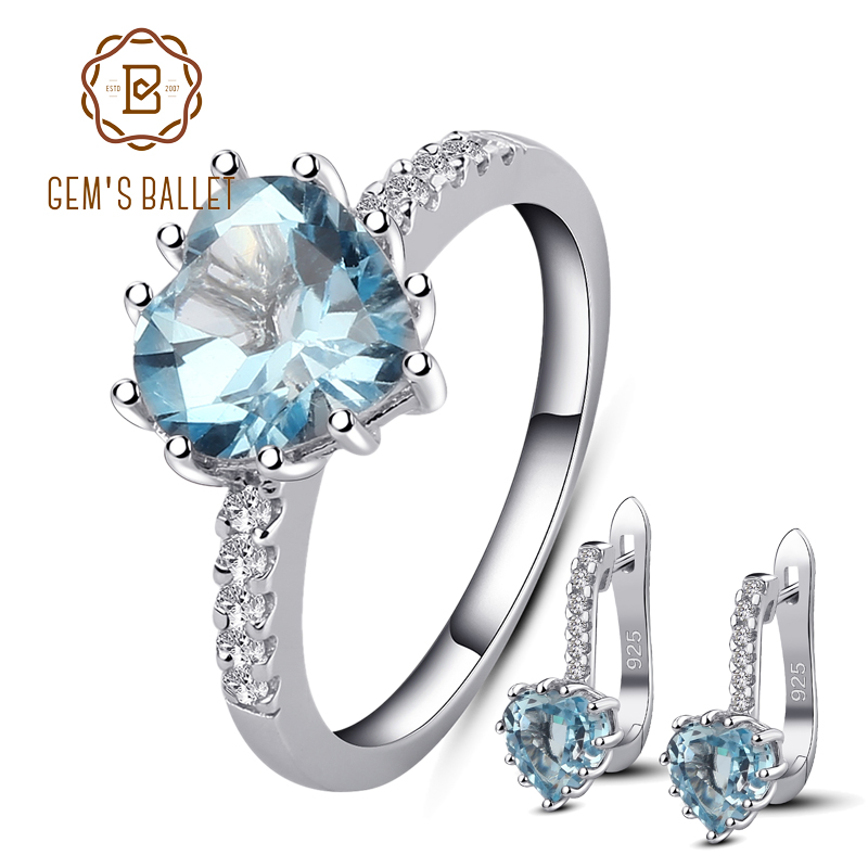 GEM S BALLET 8 33Ct Oval Natural Sky Blue Topaz Gemstone Jewelry Set 925 Sterling Silver