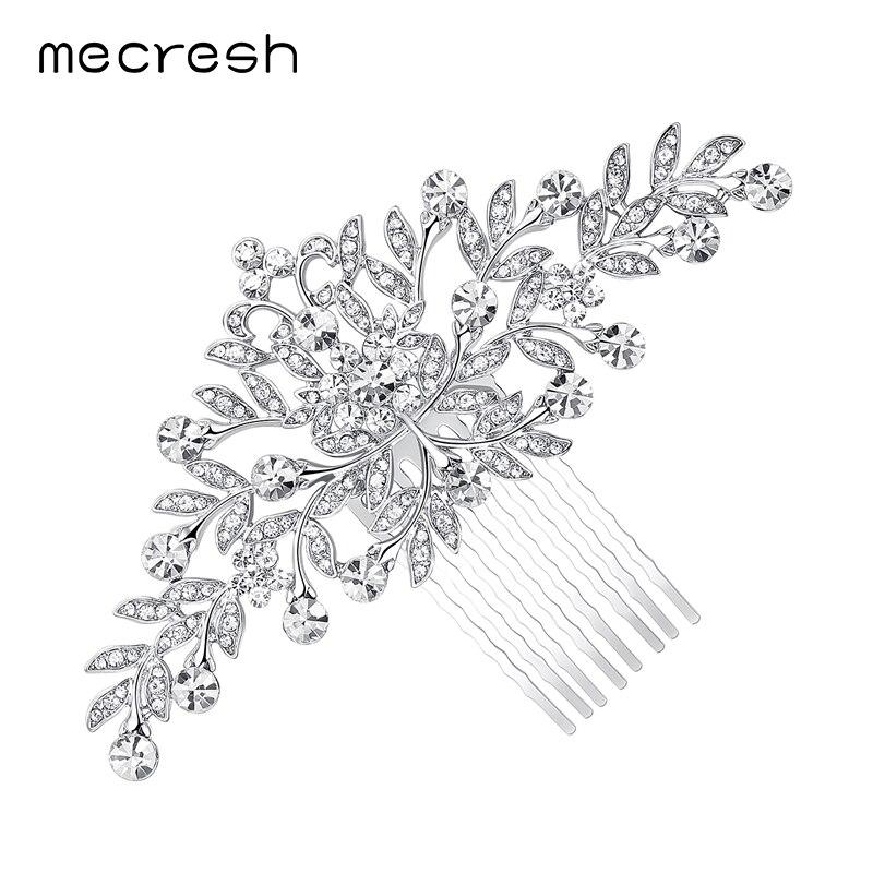 Mecresh Leaf Crystal Bröllop Hår Tillbehör För Kvinnor Luxury - Märkessmycken - Foto 5
