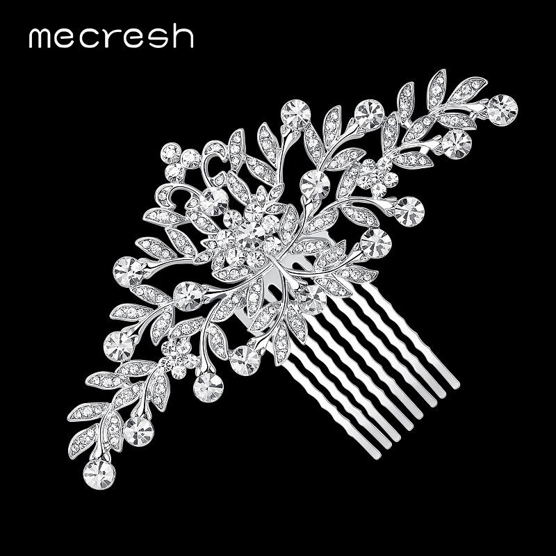 Mecresh Leaf Crystal Wedding Hair Accessories For Women Luxury Rhinestone Bridal Hair Combs 2018 Fashion European Design FS133