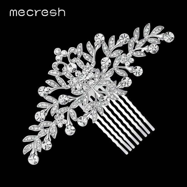Mecresh Leaf Crystal Wedding Hair Accessories For Women Luxury Rhinestone Bridal