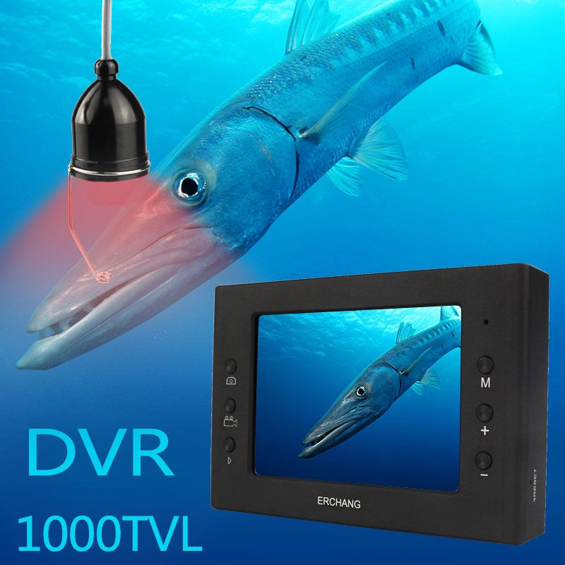 Erchang 15M Cable Camera Fish Finder Infrared LED 3.5''Monitor HD 1000TVL Underwater Camera For Ice Fishing Night Vision DVR|Fish Finders| |  - title=