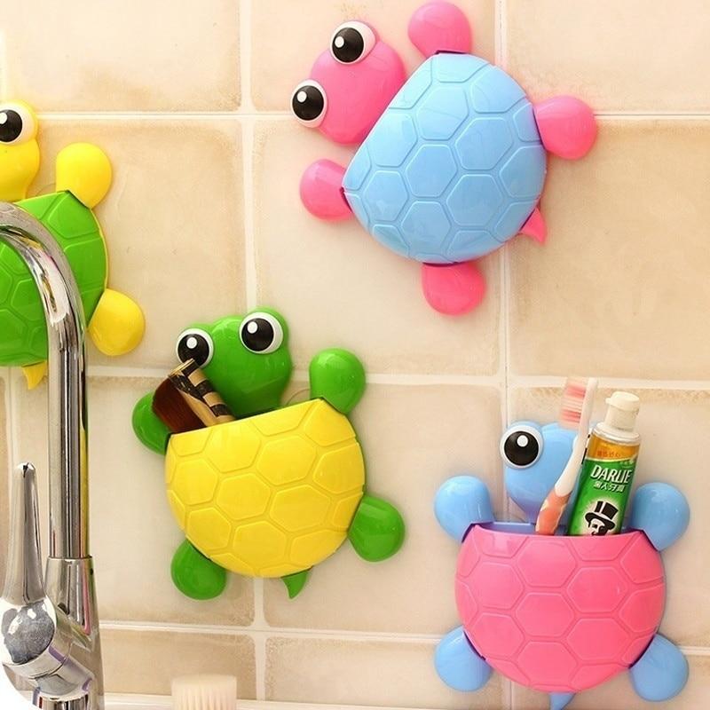 Cute Turtle Sucker Hook Toothbrush Holder Cartoon Tortoise Bathroom Accessories Organizer Bathroom Toothbrsdh Stand